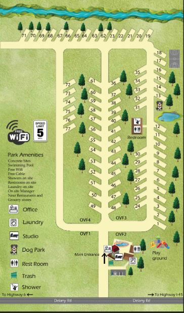 RV Park map along a creek and fish pond, basketball court