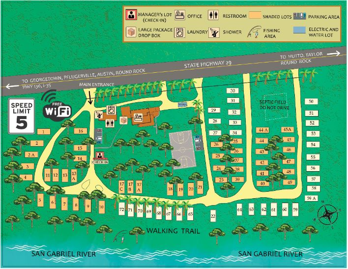 RV Park Map along highway with references to landmarks