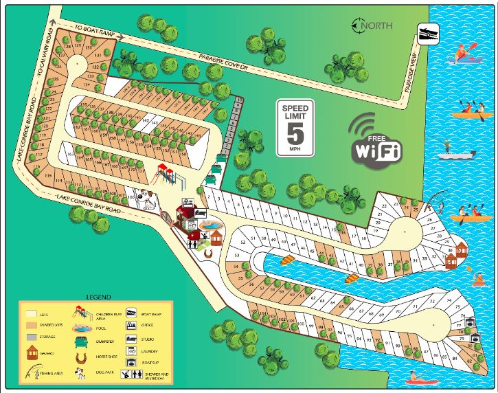 RV Park map with boat ramp and amenities